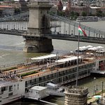 VIEW OF CHAIN BRIDGE AND RIVER CRUISE BOATS FROM ROOM