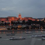 DANUBE RIVER TRAFFIC AND BUDA CASTLE AS VIEWED FROM ROOM