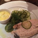 Sea bream with warm cucumber and dill sauce
