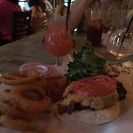 Bourbon Burger & Onion RIngs with a Mangotini