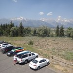 View of parking, the Snake River and the Tetons