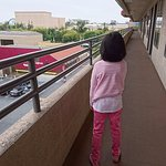 Corridor rail guard is safe enough (this girl is 120cm tall)