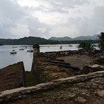 The bay from the grounds of the Portobelo fort.