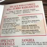 The menu and the small drink