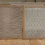 Clogged air conditioning filter on the left, clean filter on the right.
