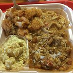 Seafood combo with Shrimp, Crawfish Fettucini, Crawfish Ettoufe', (sides: Crawfish Dressing, Pot