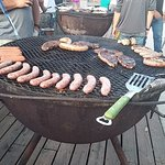 Food on one of the Texas size grills.