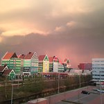 View from our room during the perfect early evening storm. So Beautiful in Zaandam. Best hotel a