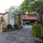 Entrance, at end of side street