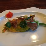 Zucchini blossom stuffed with chicken mousse
