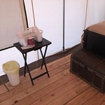 Glamping Tent. Cups, Waste basket. Foot locker chest