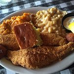 Catfish, sweet potato casserole, Mac n'cheese, and corn bread.