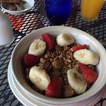 Granola with Bananas and Strawberries