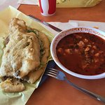 Beef fry bread taco and spicy hominy soup