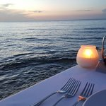 Candlelight dinner over the water