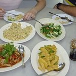 A variety of dishes and juices at the Alu-Alu Cafe