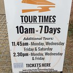 Make sure that you pay attention to the tour times. I didn't and hence missed the tour - so will