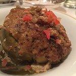 Entree: Ground meat resting in an artichoke heart