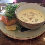 Cullen skink with smoked salmon sandwich