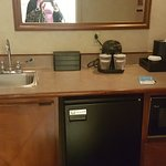 Counter space. Fridge, micro, coffee maker, creams&sugars small sink ice buckets, cups
