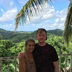 My son, Gabe, with Nilda. View from the breakfast table.