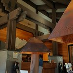 lodge front desk and ceiling detail
