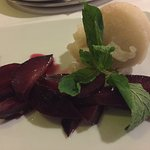 Pear sorbet with plums