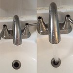 Left tap didn't work. See photos of taps on together and then the left tap on but no water runni