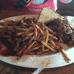 Pulled BBQ pork plate with Texas toast and seasoned fries.I think this was a double portion of f