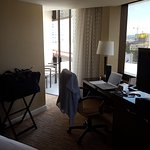 Some rooms have two balconies for viewing the downtown area ...