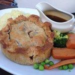Steak & Ruddles ale pie with veges
