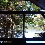 The view from breakfast on our covered deck at our cottage, Big Ledge