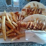 Fish tacos with french fries