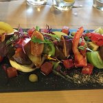 Heritage tomato salad with whipped goats cheese, figs, water melon and Worcestershire sauce redu