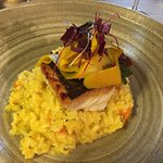 Hake with butternut risotto
