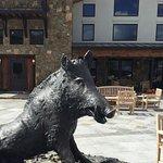 Wild boar bronze in the courtyard
