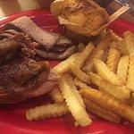 Chicken breast, brisket, fries and corn bread