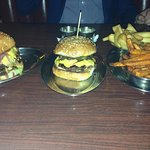 Delilsh burgers with amazing buns. Fat chips and sweet potato chips with truffle aioli so YUM