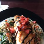 Grilled Herb Crusted Salmon over Tricolore Orzo, Sautéed Spinach & Ricotta with a Lemon Caper Sa