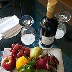 Complimentary wine & fruit platter