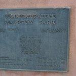 Plaque about Commemorative Park