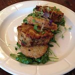 Crab cakes with fried green tomatoes.  We asked for the bacon remoulade to be served on the side