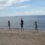 On the sandy part of the shoreline at Menominee Park