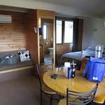 Inside our 1 Bedroom Cabin.. Clean, warm and comfortable.. Had everything we needed and more..