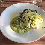 Whitefish with smashed avocado and fennel slaw. Really good!