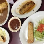 Cheese enchilada, Crispy Beef Taco, Tamale and Beef Flauta