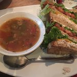 Soup and sandwich - chicken gumbo and a club sandwich