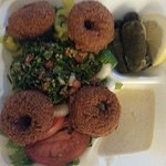 Falafel, taboule, grape leaves.