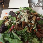 Mushroom salad with greens, blue cheese and sherry vinegrette