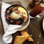 wood-oven baked eggs with summer ratatouille, mozzarella & garlic toast